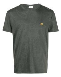 T-shirt à col rond imprimé vert foncé Etro
