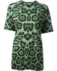 T-shirt à col rond imprimé vert foncé Givenchy