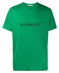 T-shirt à col rond imprimé vert Givenchy