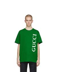 T-shirt à col rond imprimé vert Gucci