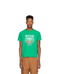 T-shirt à col rond imprimé vert Kenzo