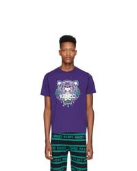 T-shirt à col rond imprimé violet Kenzo