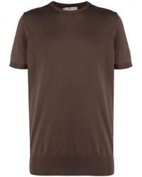T-shirt à col rond marron foncé Canali
