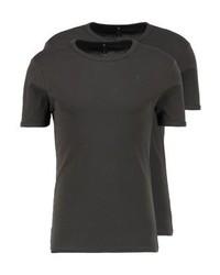 T-shirt à col rond marron foncé