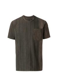 T-shirt à col rond marron foncé Uma Wang