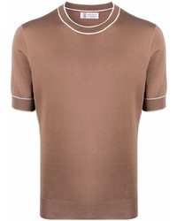 T-shirt à col rond marron Brunello Cucinelli