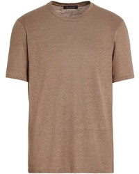 T-shirt à col rond marron Ermenegildo Zegna