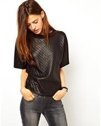 T-shirt à col rond matelassé noir Asos