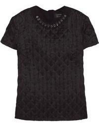 T-shirt à col rond matelassé noir Lanvin