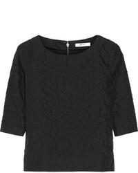 T-shirt à col rond matelassé noir