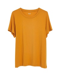 T-shirt à col rond moutarde