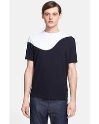 T-shirt à col rond noir et blanc