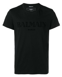 T-shirt à col rond noir Balmain