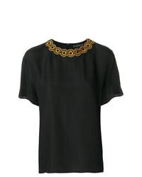 T-shirt à col rond noir Etro