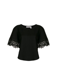 T-shirt à col rond noir See by Chloe