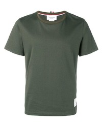 T-shirt à col rond olive Thom Browne