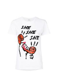 T-shirt à col rond orné blanc P.A.R.O.S.H.