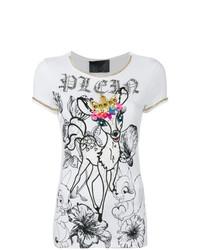 T-shirt à col rond orné blanc Philipp Plein
