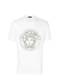 T-shirt à col rond orné blanc Versace