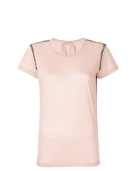 T-shirt à col rond orné rose N°21
