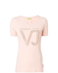 T-shirt à col rond orné rose Versace Jeans