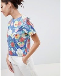 T-shirt à col rond pailleté à fleurs multicolore ASOS DESIGN