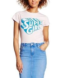 T-shirt à col rond rose Cid