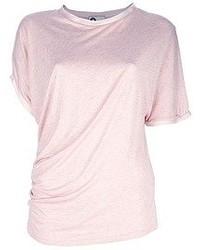 T-shirt à col rond rose Lanvin