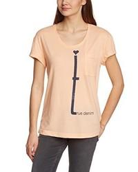 T-shirt à col rond rose Mustang