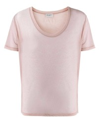 T-shirt à col rond rose Saint Laurent