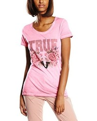 T-shirt à col rond rose True Religion