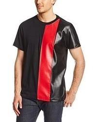 T-shirt à col rond rouge et noir