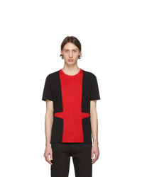 T-shirt à col rond rouge et noir Alexander McQueen