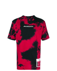 T-shirt à col rond rouge et noir Mauna Kea