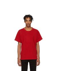 T-shirt à col rond rouge Amiri