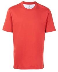 T-shirt à col rond rouge Brunello Cucinelli