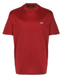T-shirt à col rond rouge Ermenegildo Zegna