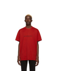 T-shirt à col rond rouge Givenchy