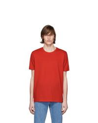 T-shirt à col rond rouge Hugo