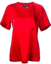 T-shirt à col rond rouge Lanvin