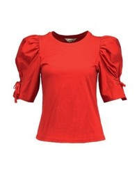 T-shirt à col rond rouge Miss Selfridge