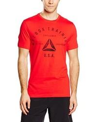 T-shirt à col rond rouge Reebok