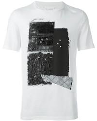 T-shirt à col rond texturé blanc Maison Margiela
