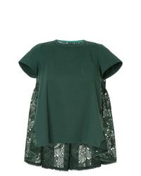 T-shirt à col rond vert foncé Sacai