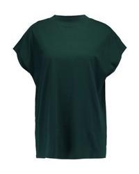 T-shirt à col rond vert foncé Weekday