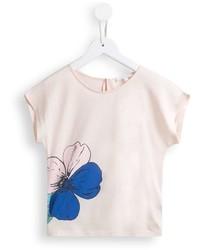 T-shirt à fleurs beige