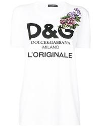 T-shirt à fleurs blanc Dolce & Gabbana