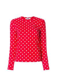 T-shirt à manche longue á pois rouge