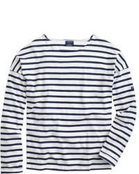 T-shirt à manche longue à rayures horizontales blanc et bleu marine