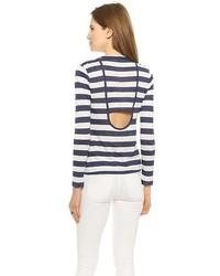 T-shirt à manche longue à rayures horizontales blanc et bleu marine A.L.C.